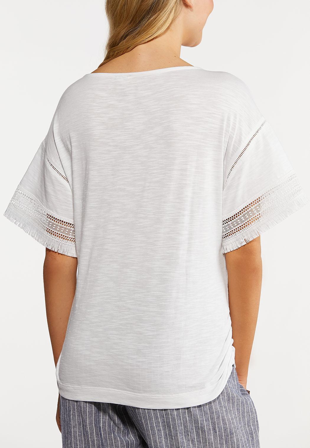Fringe Sleeve Solid Top (Item #44249153)
