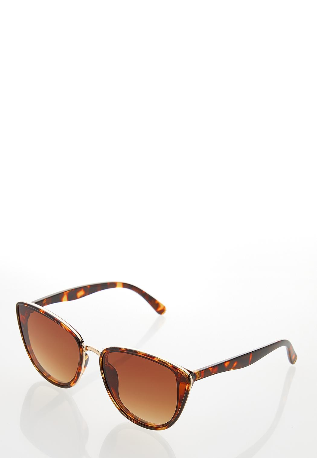 Metal Trim Tort Cateye Sunglasses (Item #44249709)
