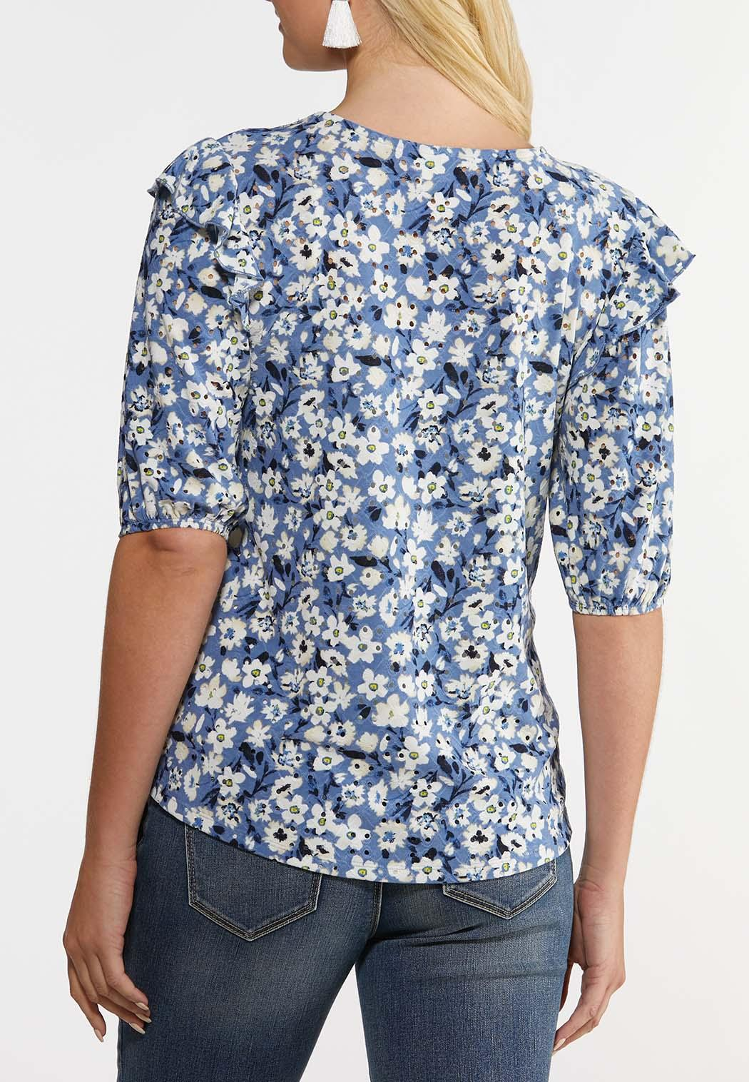 Plus Size Floral Puff Sleeve Top (Item #44249764)