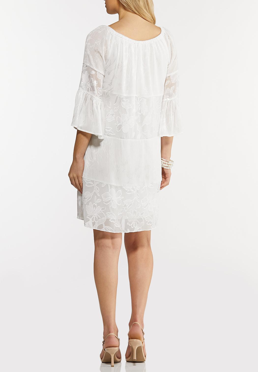 Plus Size White Peasant Burnout Dress (Item #44249984)