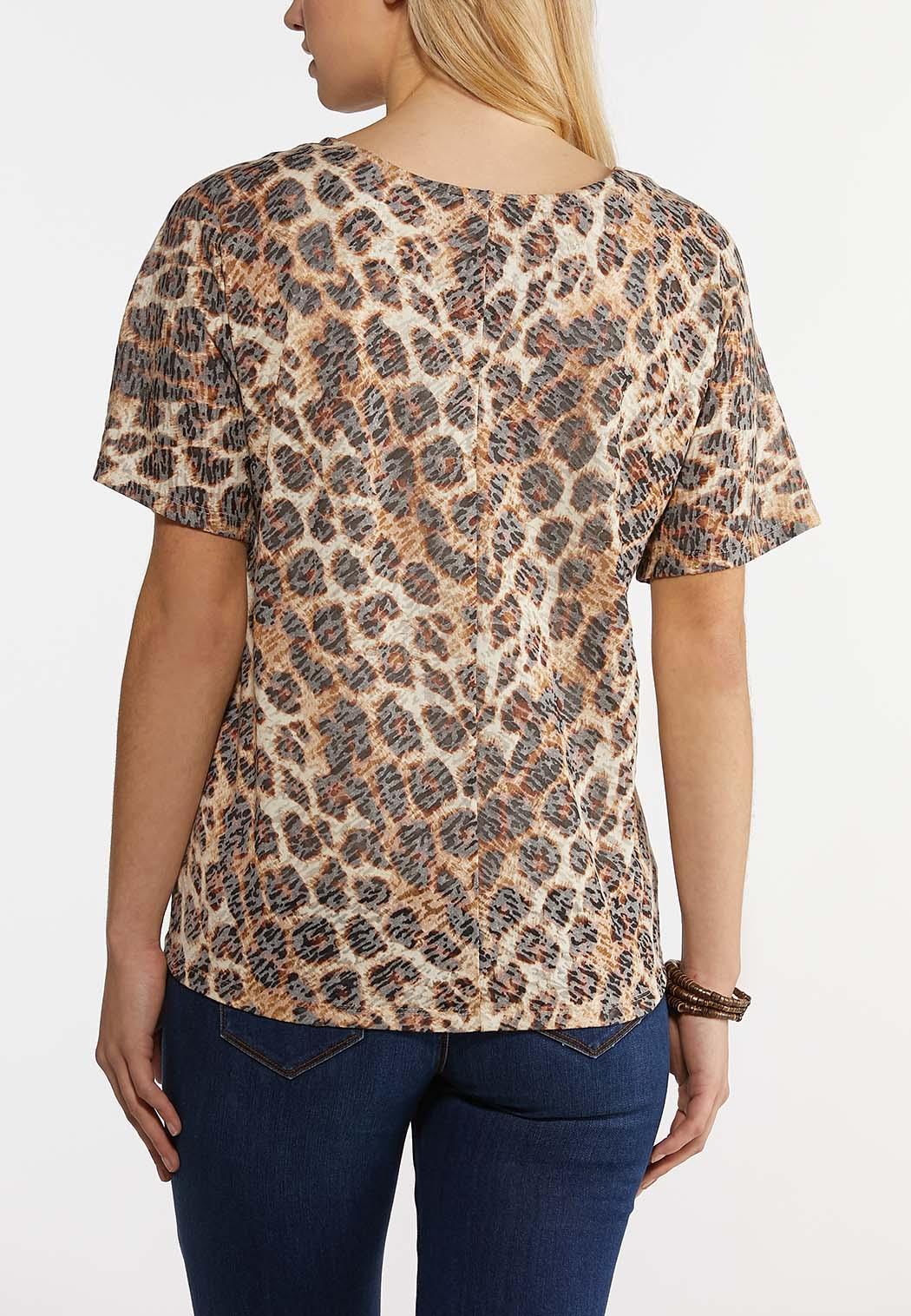 Leopard Burnout Tie Top (Item #44250449)