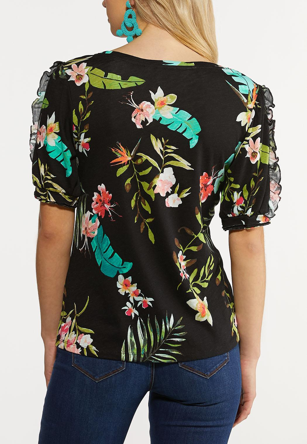 Plus Size Tropical Puff Sleeve Top (Item #44250494)