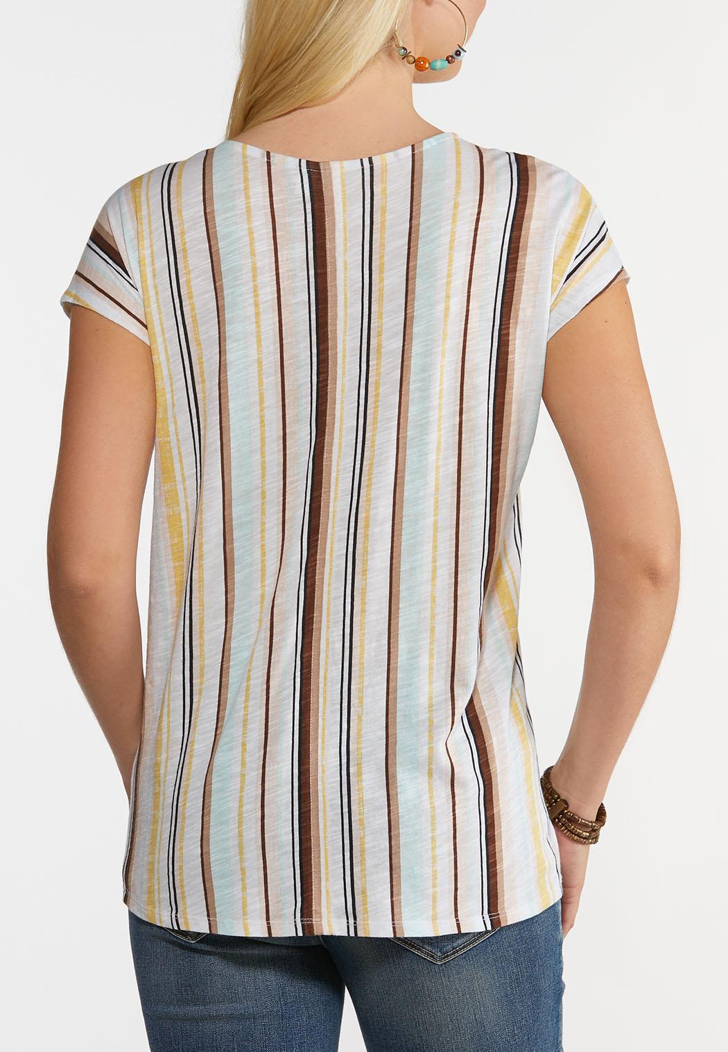 Striped Tie Hem Top (Item #44250593)