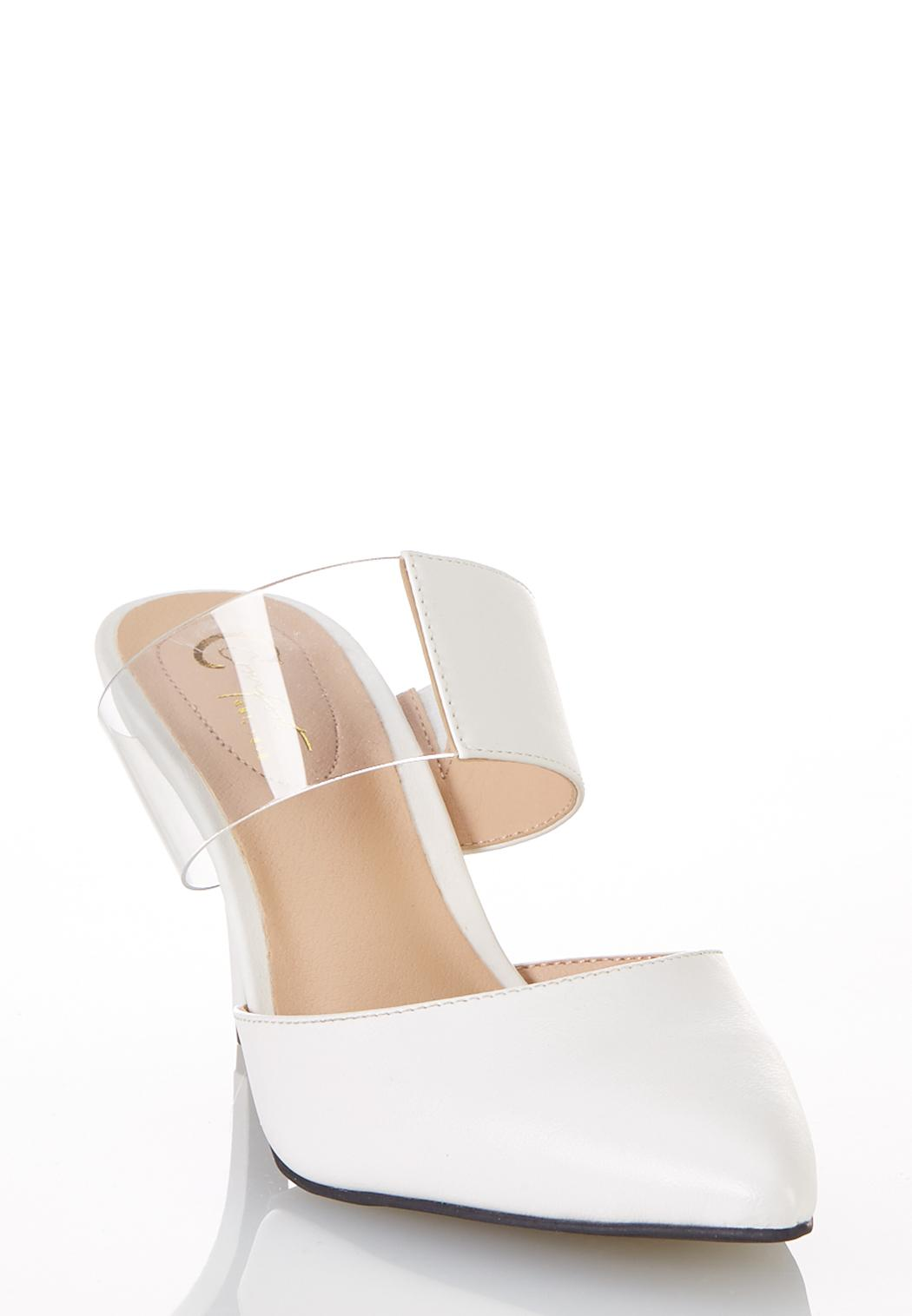 Wide Width Lucite Strap White Pumps (Item #44250607)