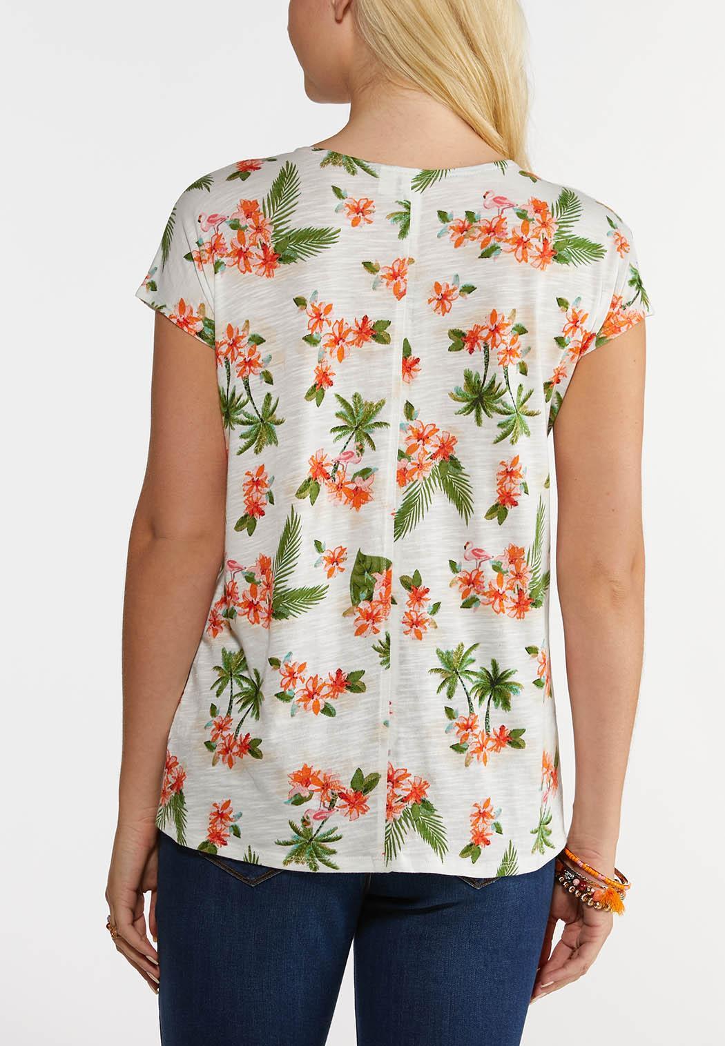 Orange Floral Tie Front Top (Item #44250620)