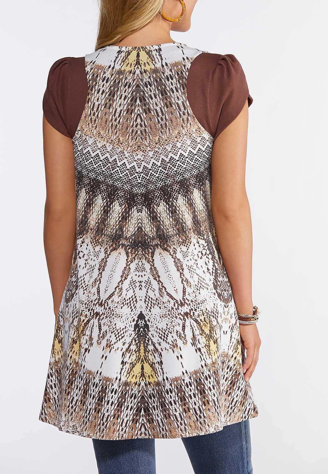 Plus Size Printed Hacci Vest (Item #44250830)