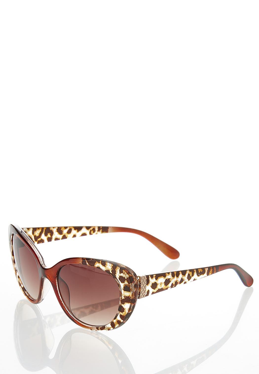 Leopard Trim Cateye Sunglasses (Item #44250952)