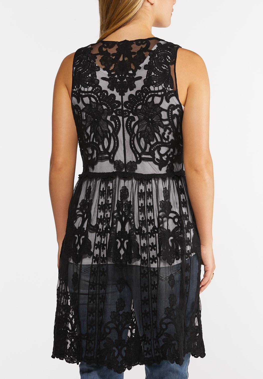 Black Crochet Mesh Vest (Item #44253726)