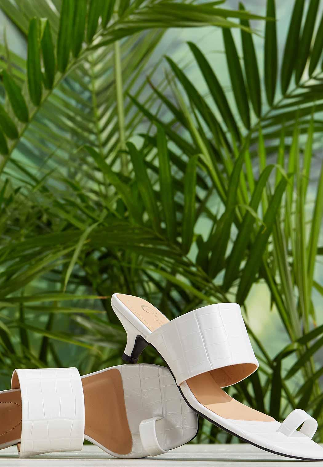 Square Toe Croc Heeled Sandals (Item #44255131)