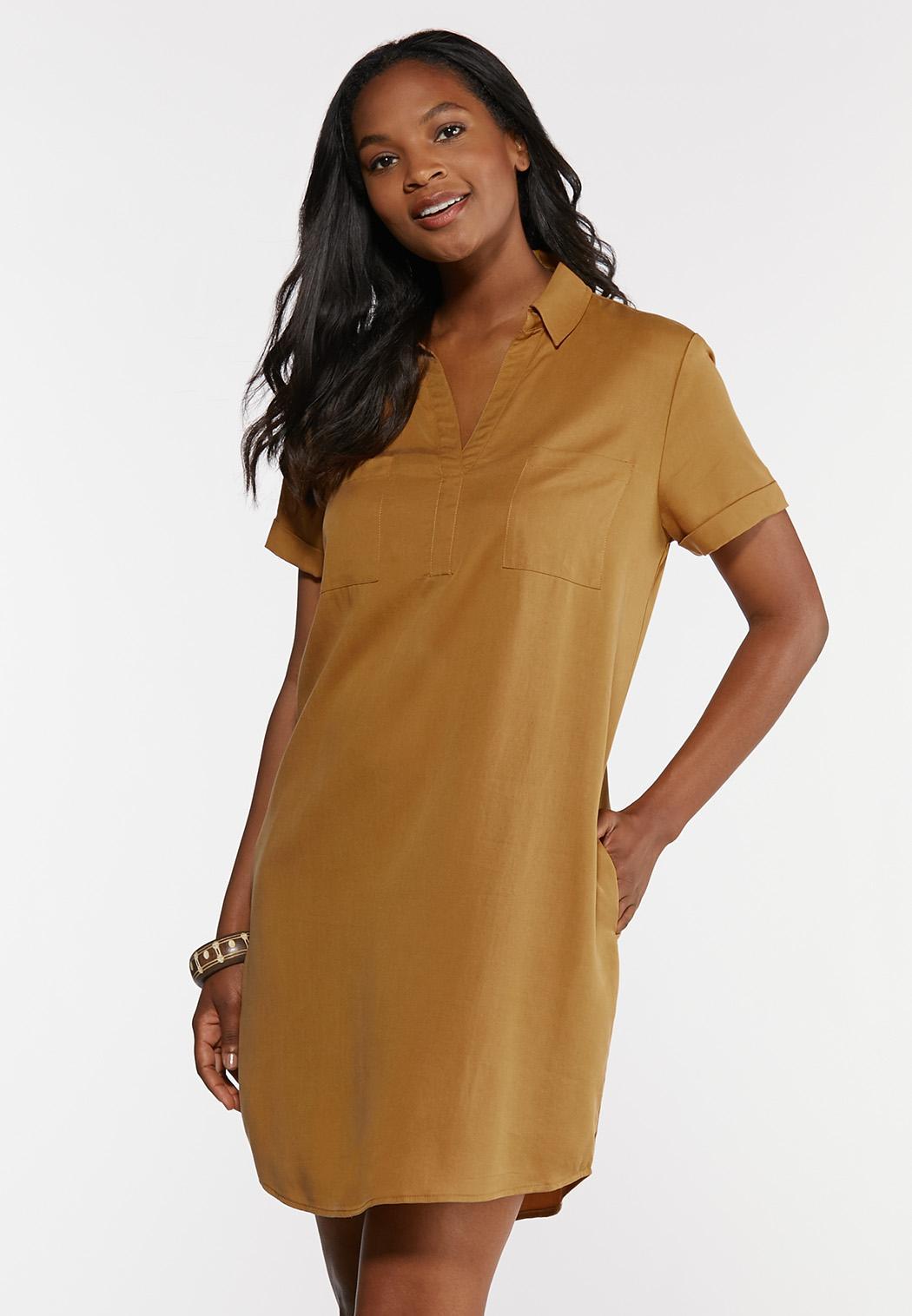 Plus Size Copper Shirt Dress (Item #44256680)