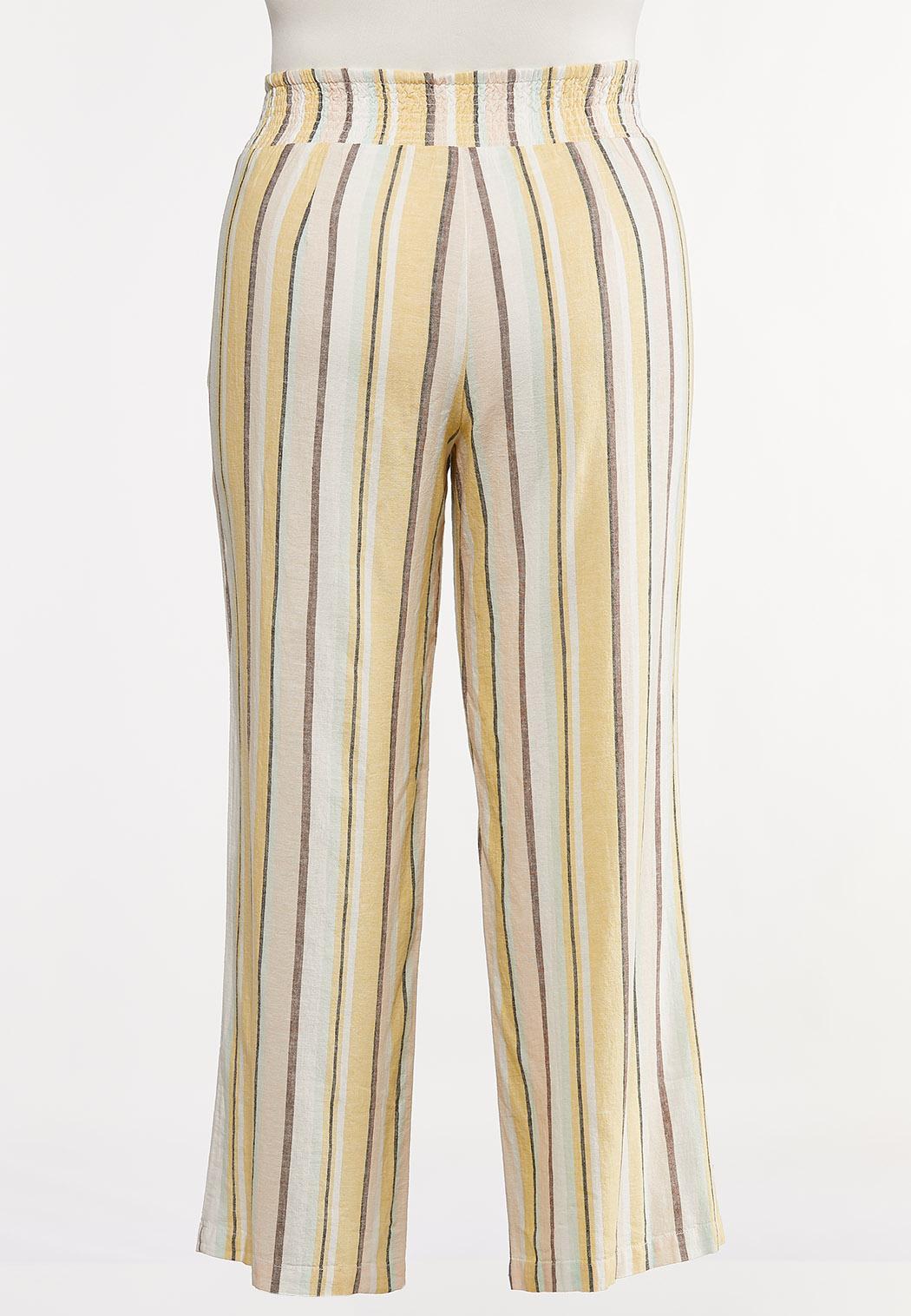 Plus Size Striped Wide Leg Linen Pants (Item #44257342)
