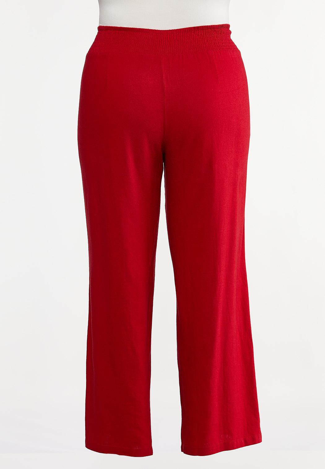 Plus Size Red Linen Beach Pants (Item #44257382)