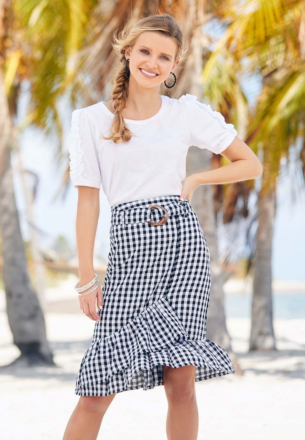 Belted Gingham Wrap Skirt (Item #44257437)