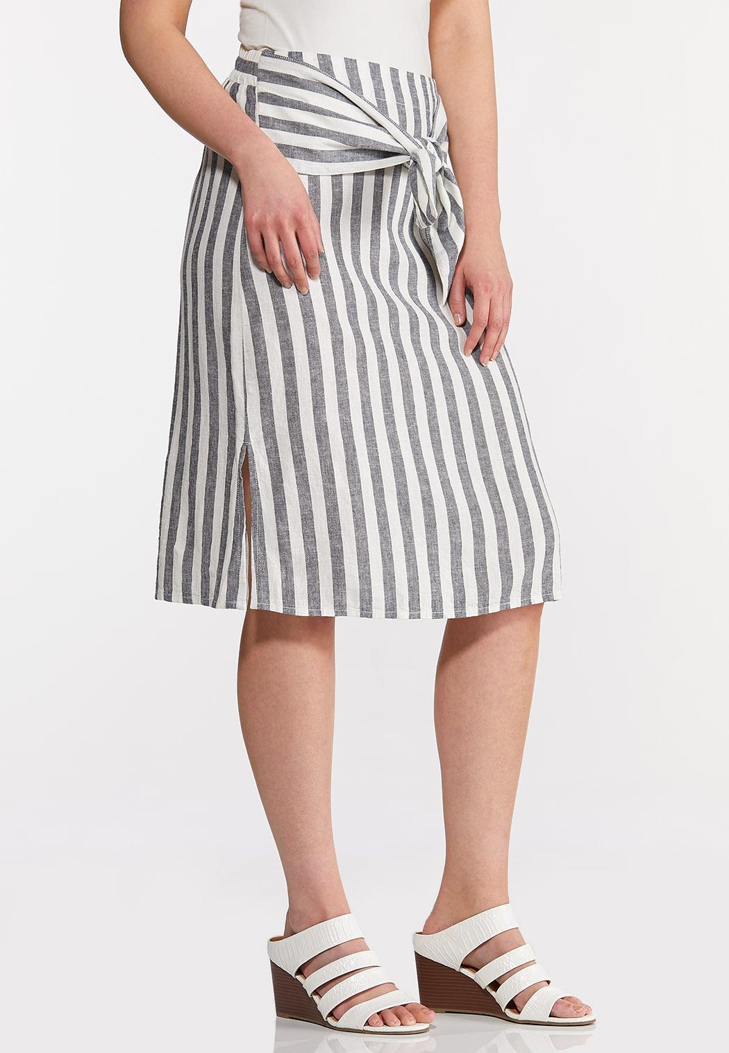 Plus Size Tie Front Linen Skirt (Item #44257701)