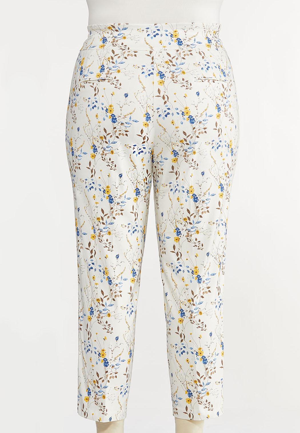 Plus Size Wild Floral Bengaline Pants (Item #44257731)