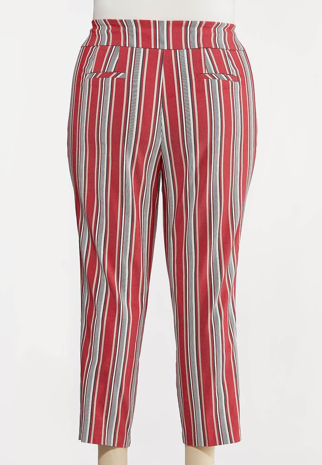 Plus Size Stripe Ankle Pants (Item #44257796)