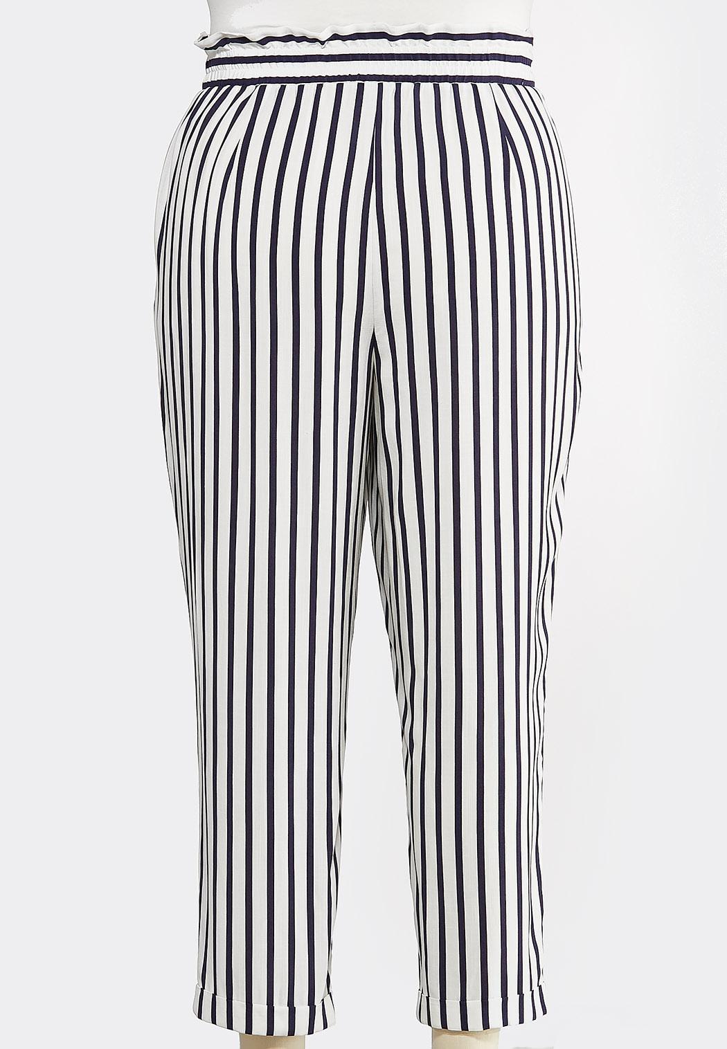 Plus Size Stripe Tassel Tie Pants (Item #44257814)