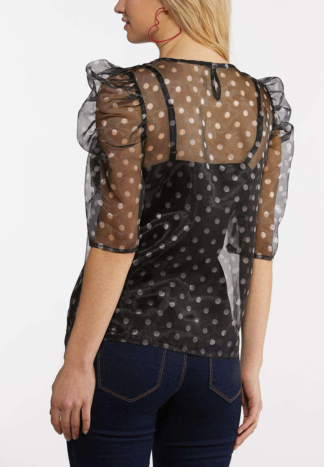 Plus Size Dotted Puff Sleeve Top (Item #44258122)