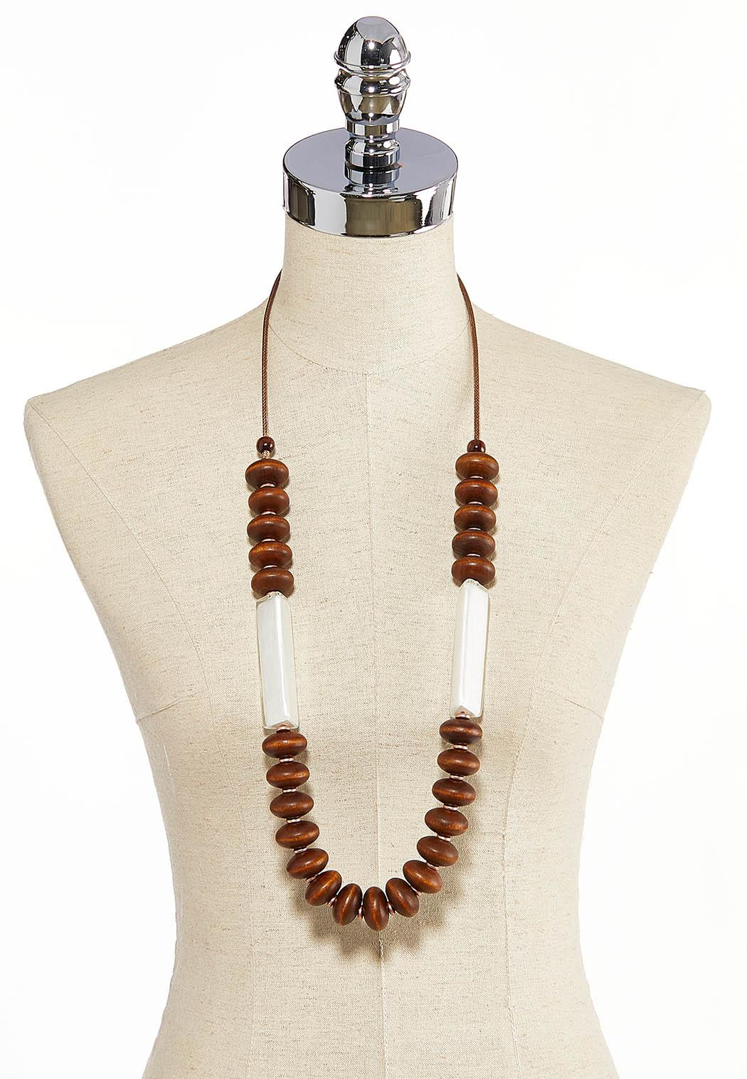 Mixed Wood Resin Cord Necklace (Item #44258436)