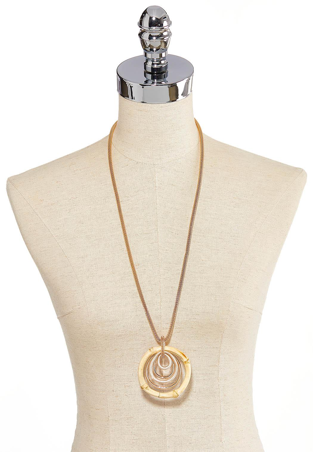 Bamboo Circle Pendant Necklace (Item #44259376)
