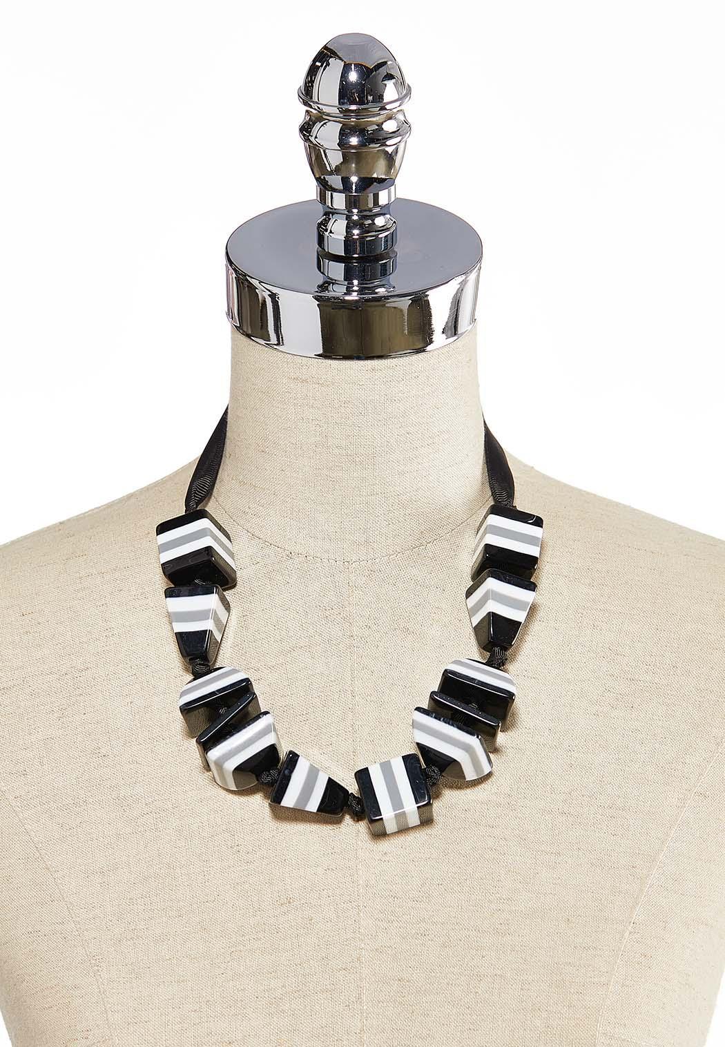 Acrylic Block Ribbon Necklace (Item #44259537)
