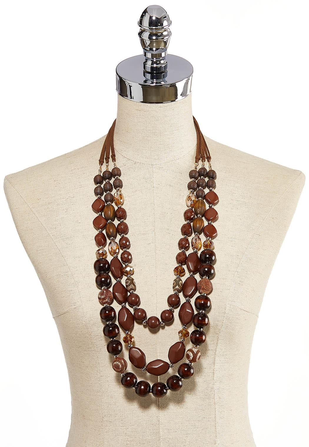 Layered Wooden Bead Necklace (Item #44259547)