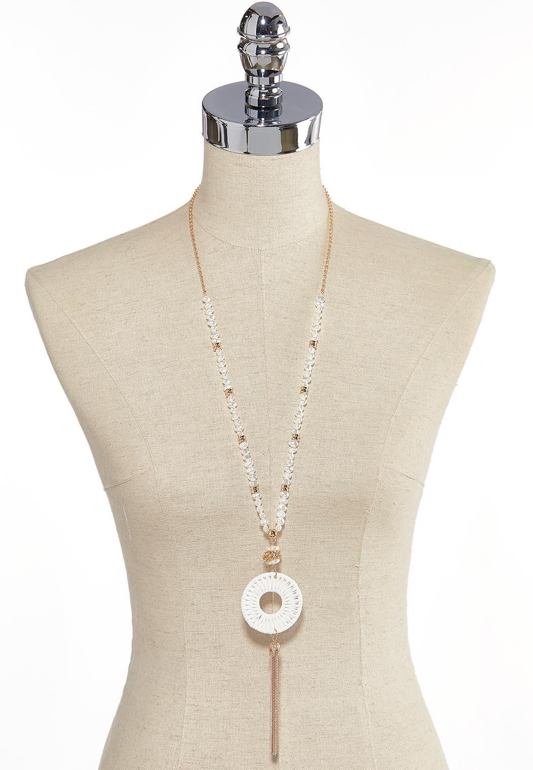 Pearl Strand Raffia Tassel Necklace (Item #44259752)