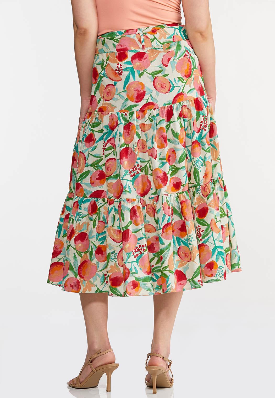 Plus Size Fruit Belted Midi Skirt (Item #44259906)