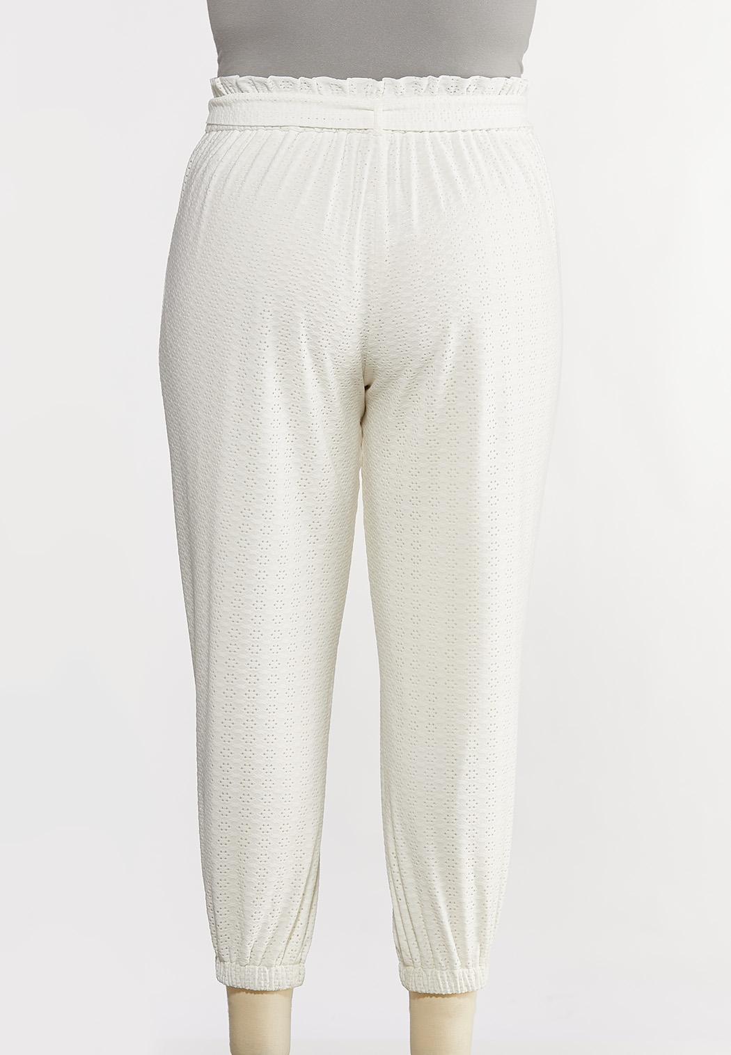 Plus Size Eyelet Tie Front Pants (Item #44260290)