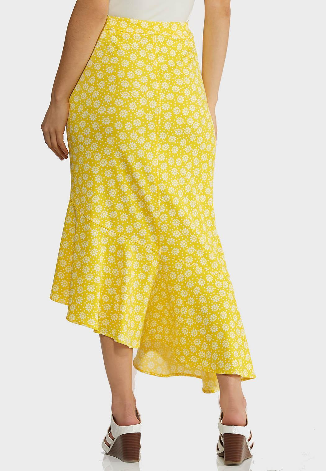 Plus Size Ruffled Floral Midi Skirt (Item #44260312)