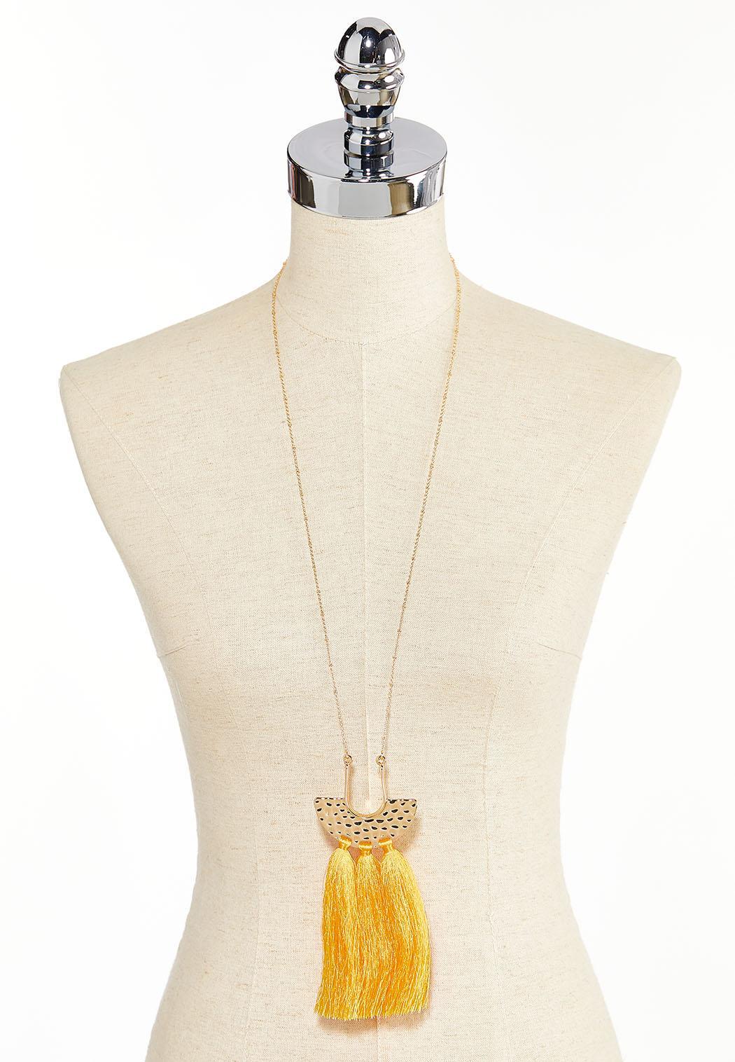 Hammered Metal Triple Tassel Necklace (Item #44260463)