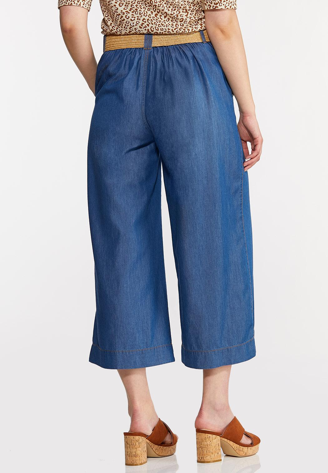 Belted Chambray Cropped Pants (Item #44260779)