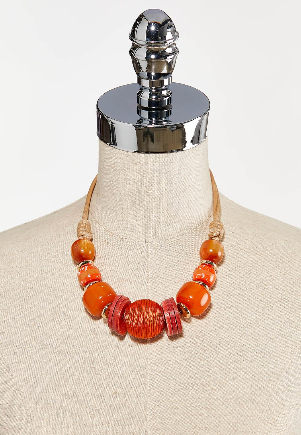 Orange Bead Cord Necklace (Item #44260812)