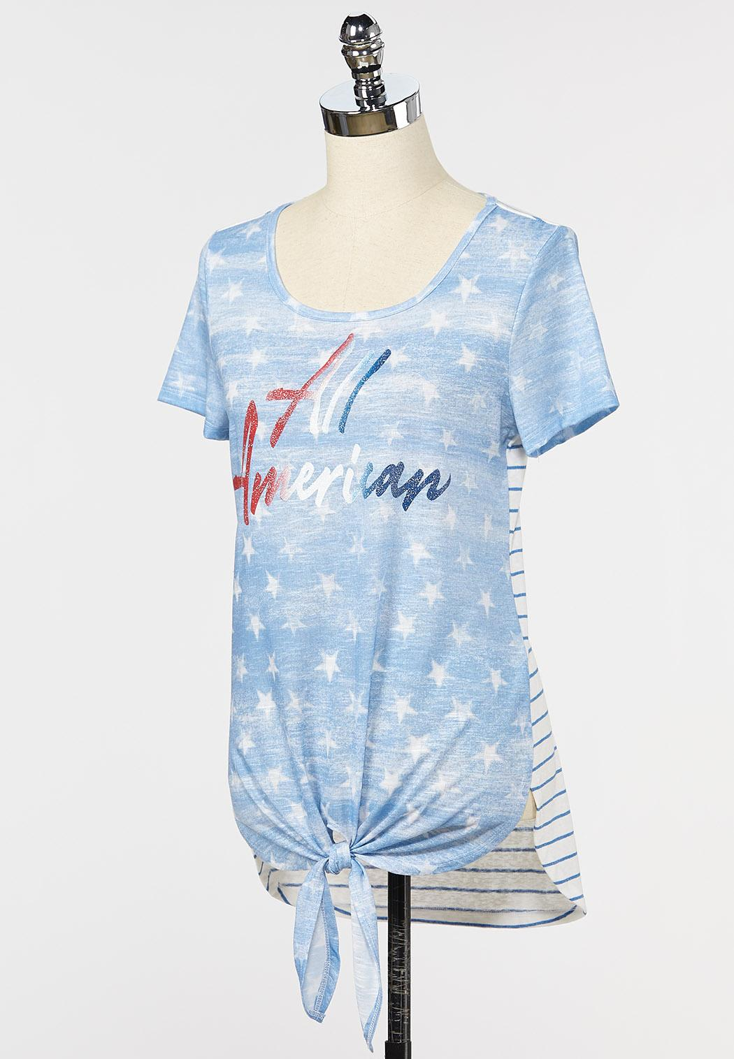 Plus Size All American Tie Front Tee (Item #44262188)