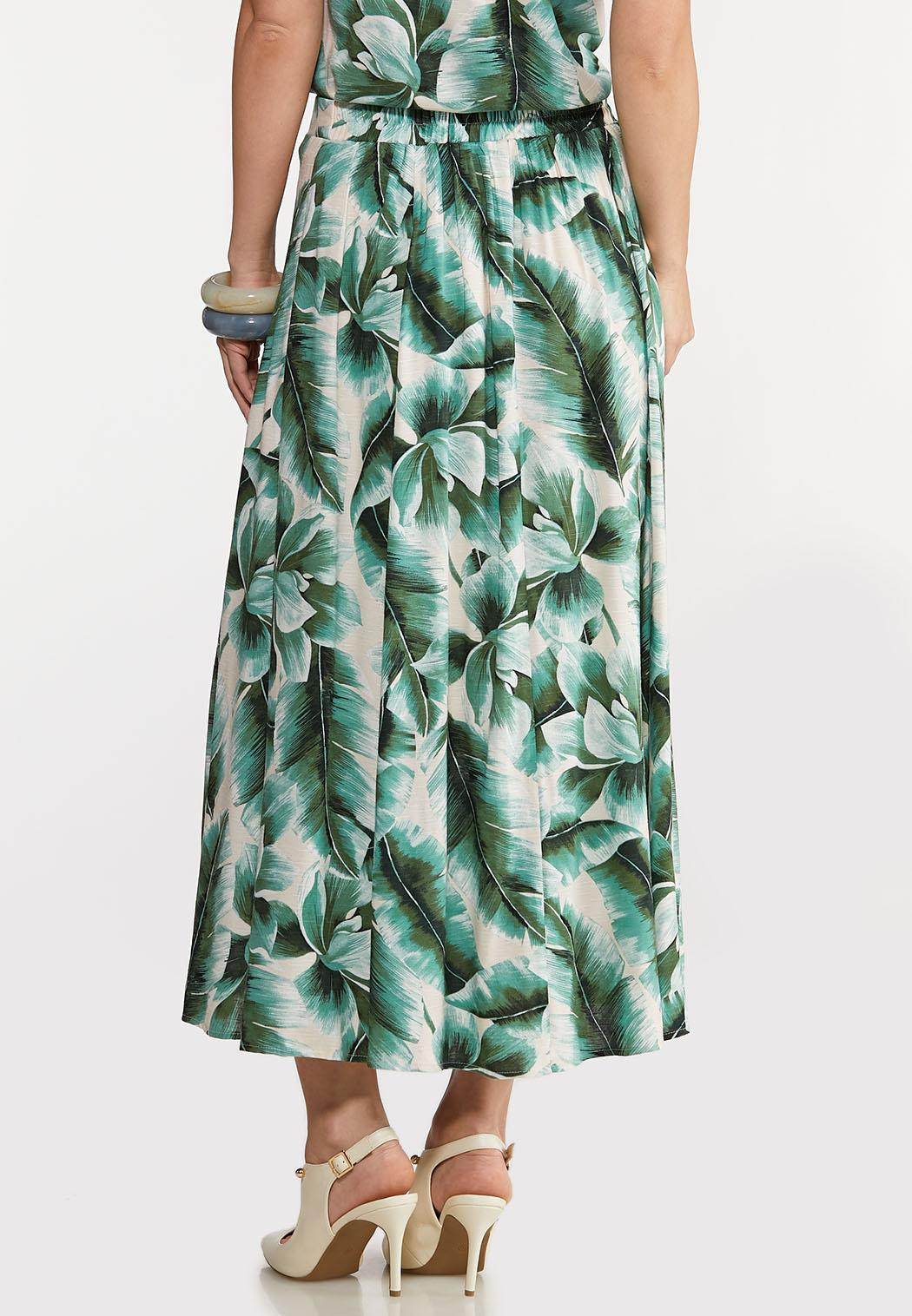 Plus Size Tropical Palm Button Front Skirt (Item #44262780)