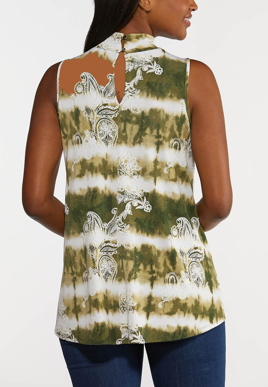 Plus Size Olive Puff Print Swing Tank (Item #44262797)
