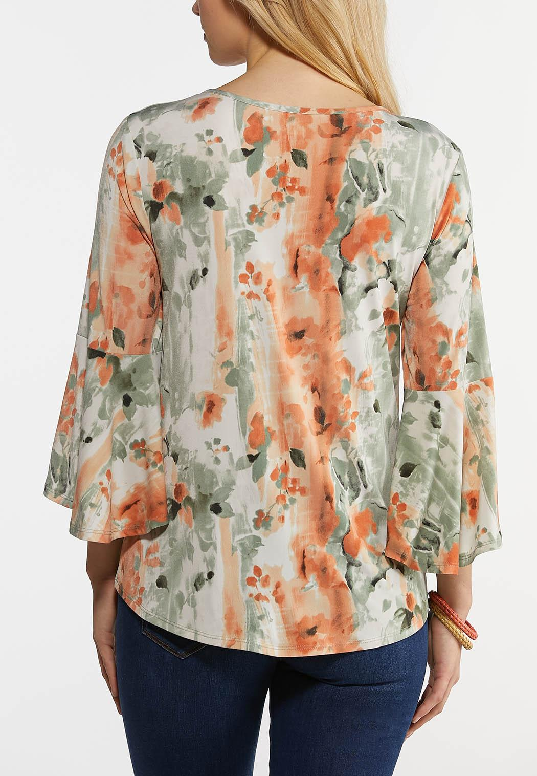 Plus Size Spa Floral Bell Sleeve Dress (Item #44262833)