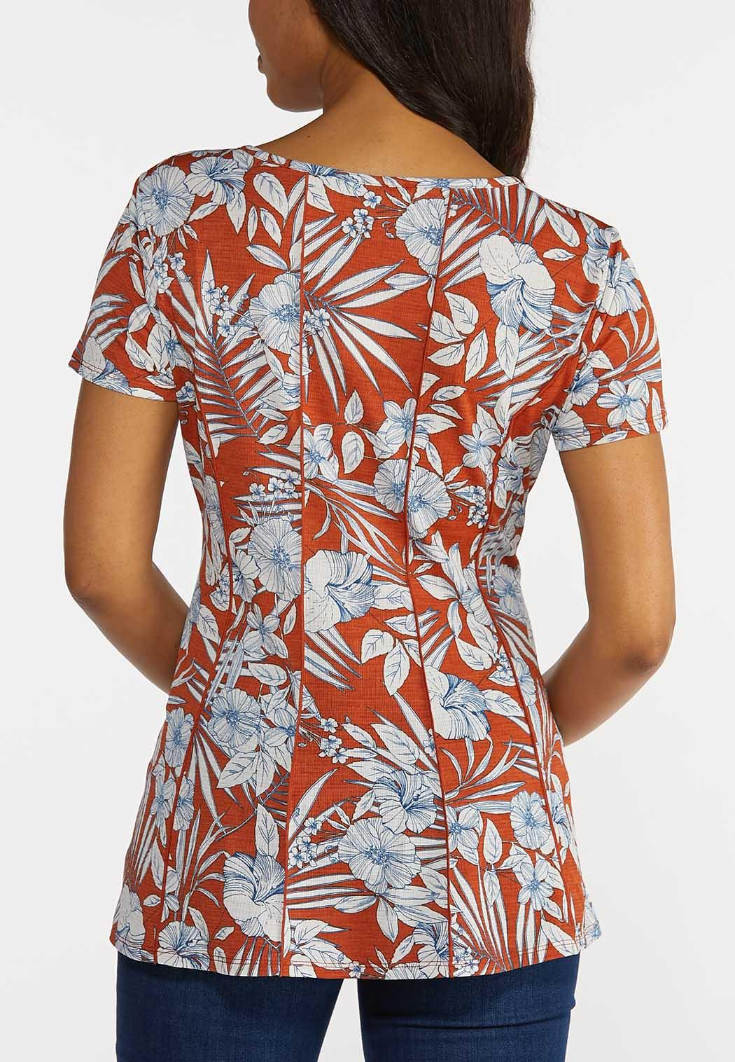Plus Size Tropical Floral Tee (Item #44262883)