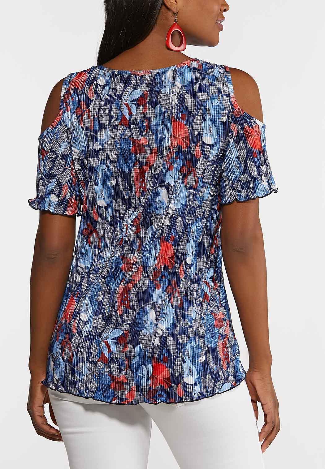 Plus Size Pleated Cold Shoulder Top (Item #44262956)