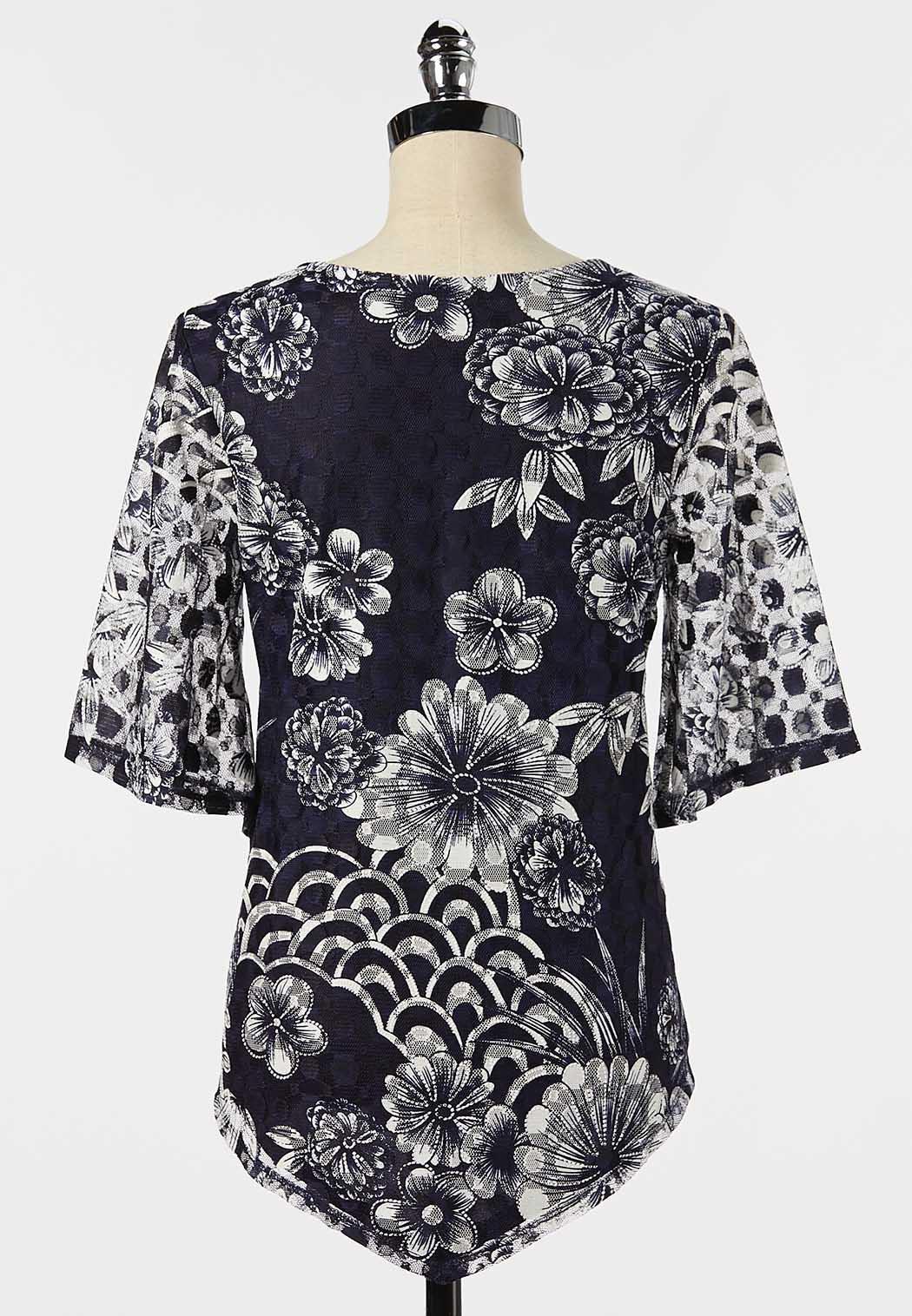 Plus Size Navy Floral Mesh Top (Item #44263037)