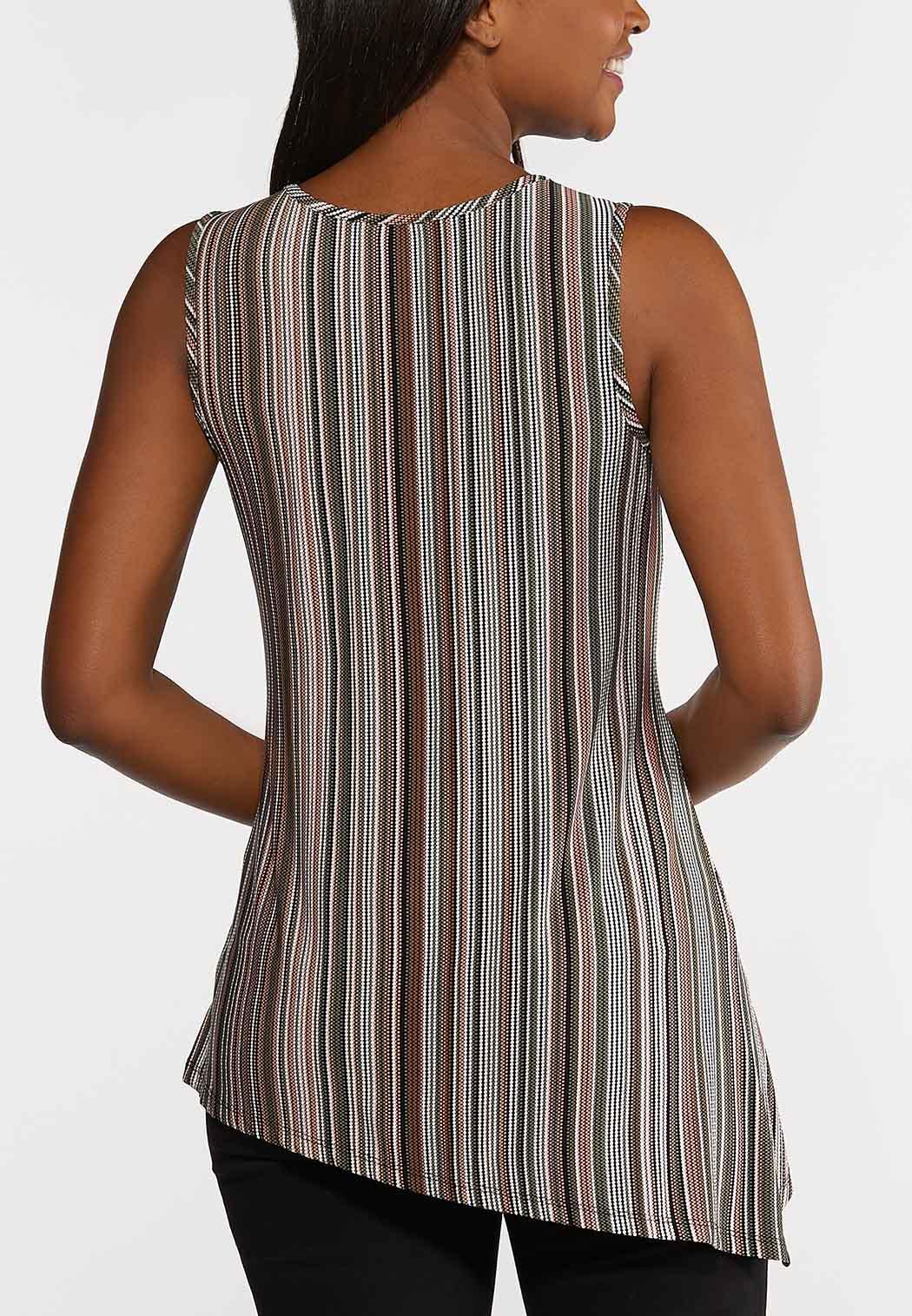 Plus Size Twisted Stripe Tank Top (Item #44263056)