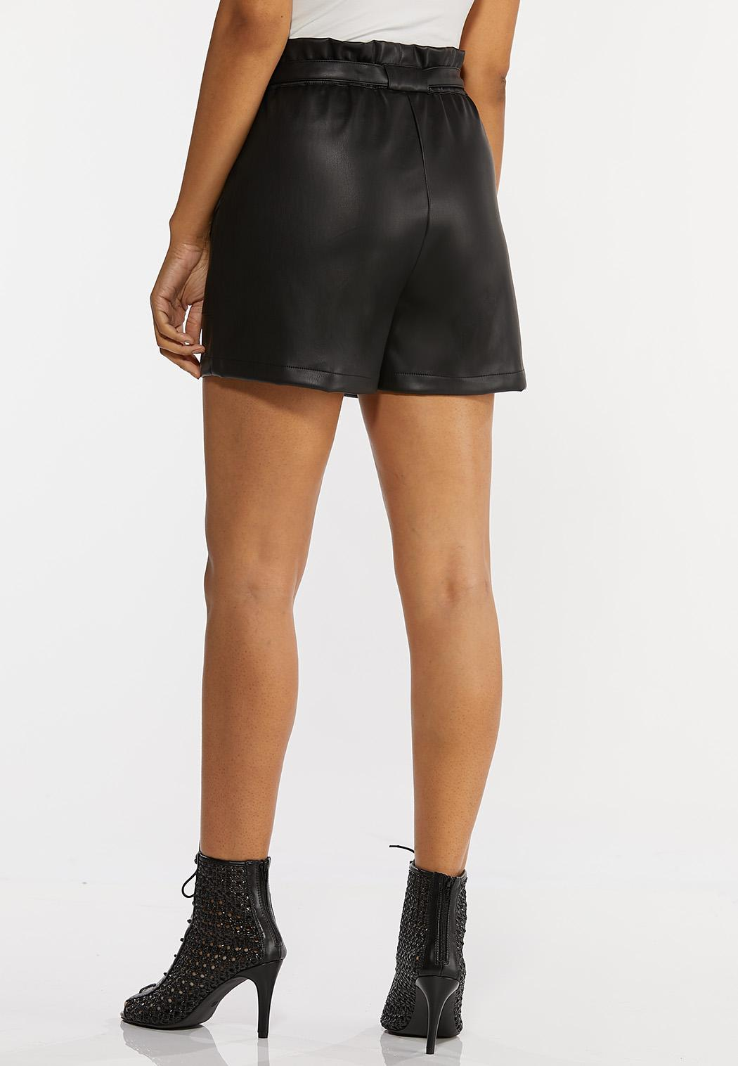 Faux Leather Paperbag Shorts (Item #44263211)