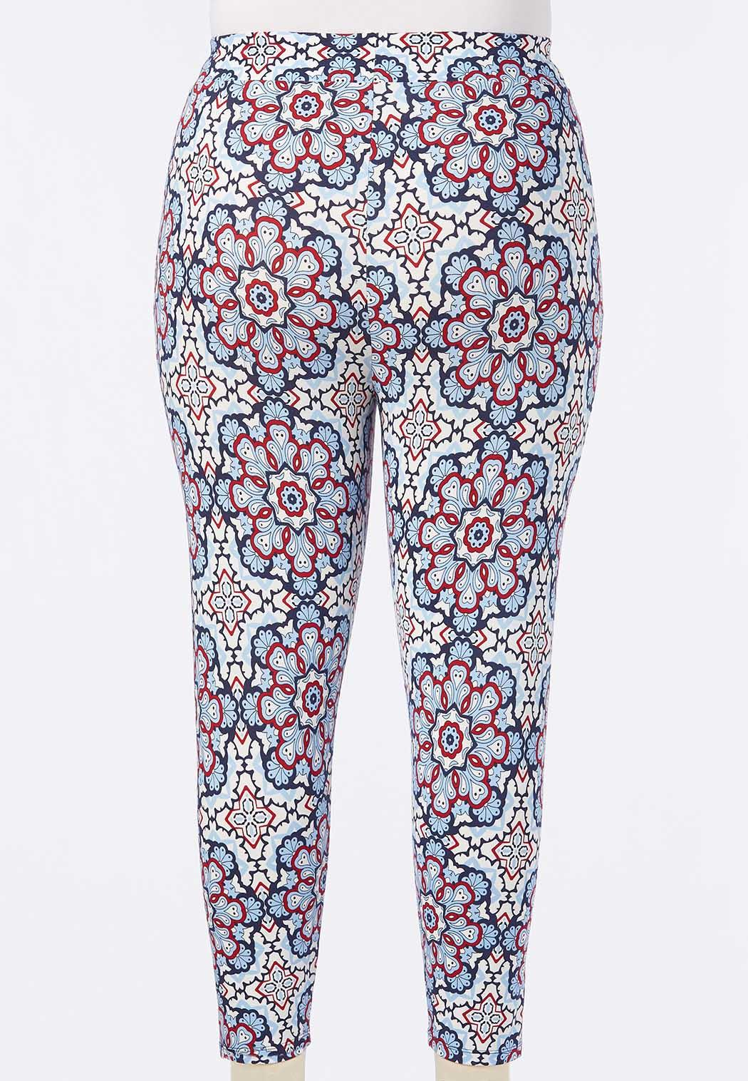 Plus Size Cropped Kaleidoscope Leggings (Item #44264831)