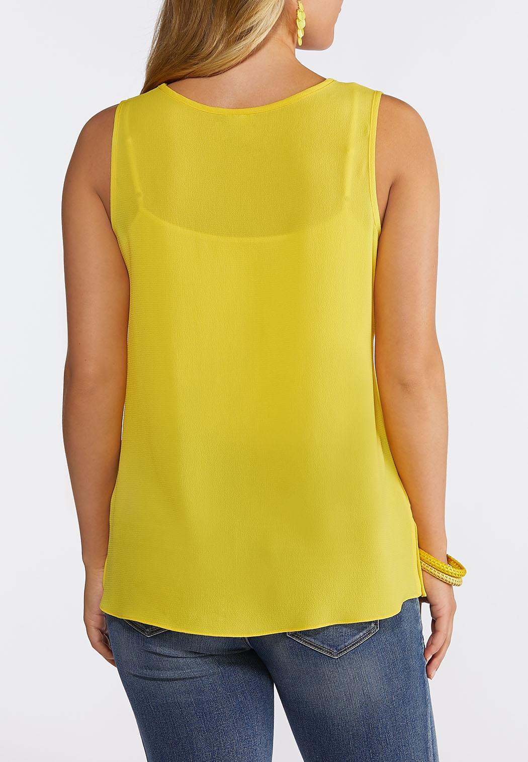 Plus Size Button Pocket Tank Top (Item #44265136)