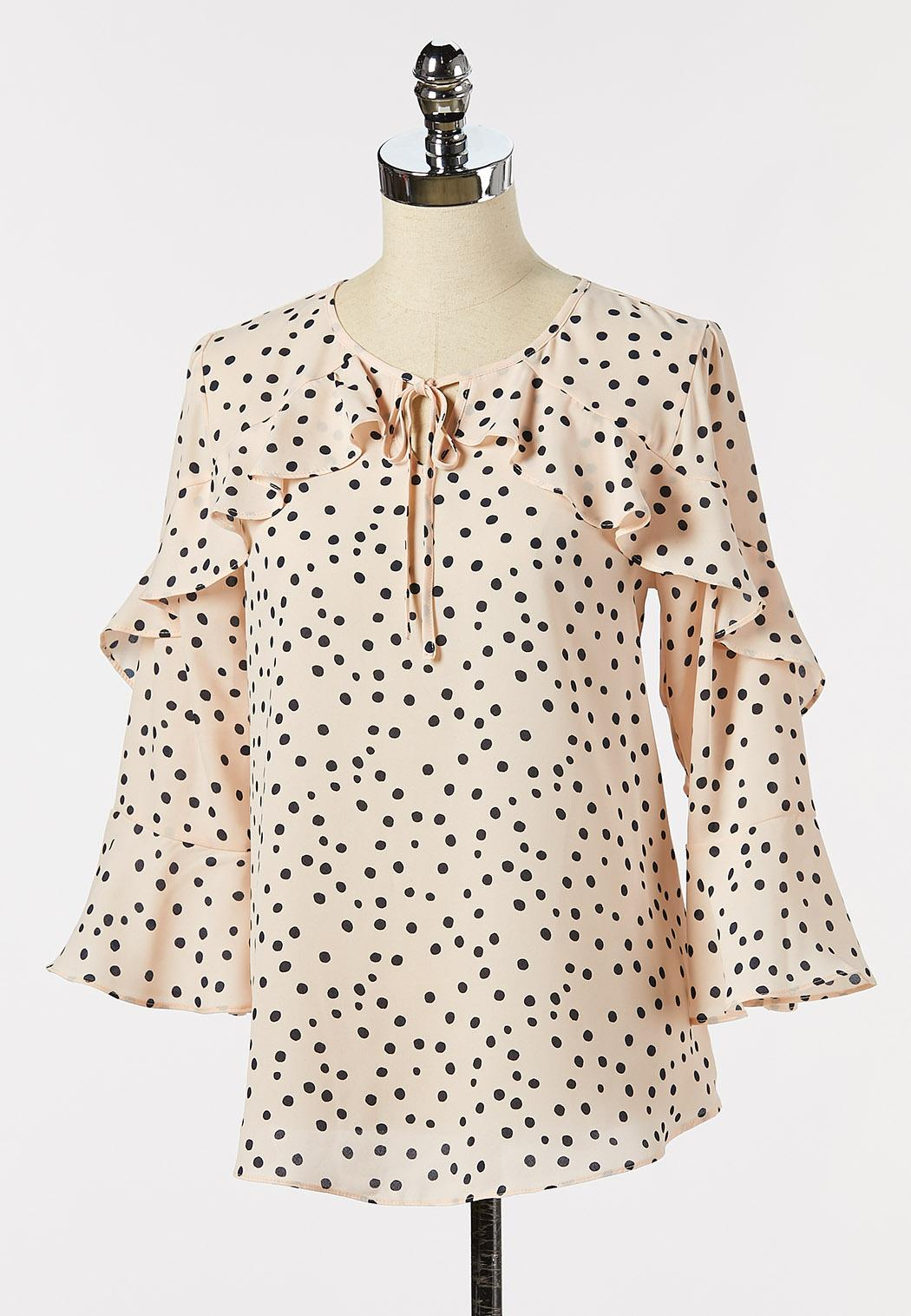 Dotted Ruffle Sleeve Poet Top (Item #44265237)
