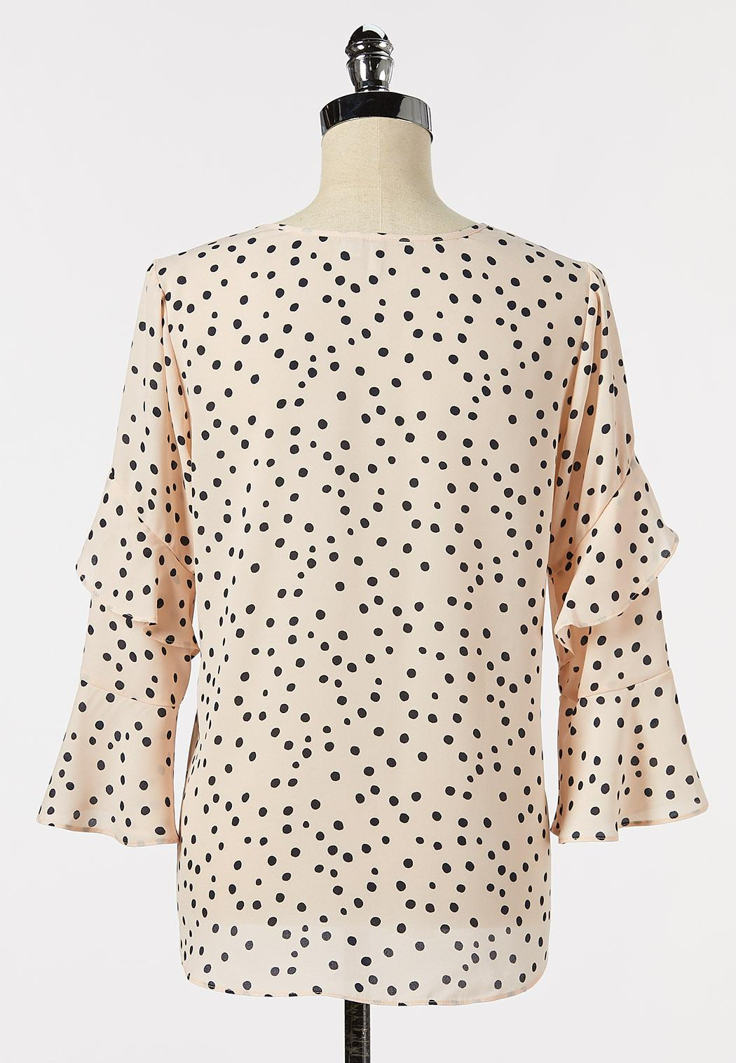 Plus Size Dotted Ruffle Sleeve Poet Top (Item #44265267)