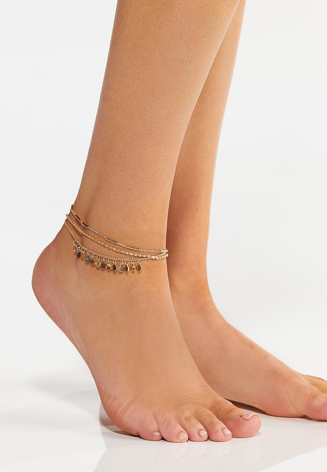 Shaky Disc Layered Anklet Set (Item #44265723)