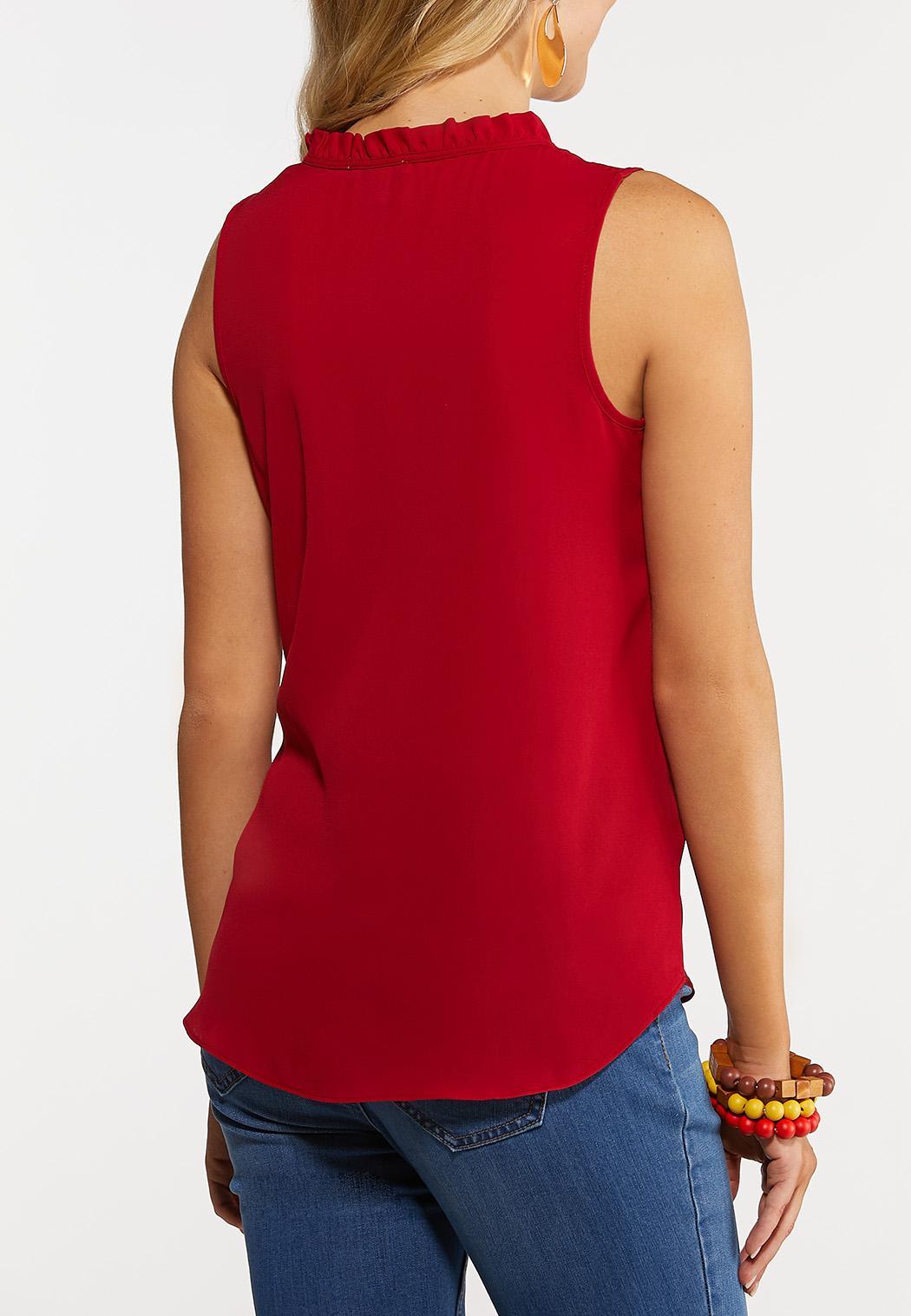 Plus Size Ruffle V-Neck Sleeveless Top (Item #44265814)