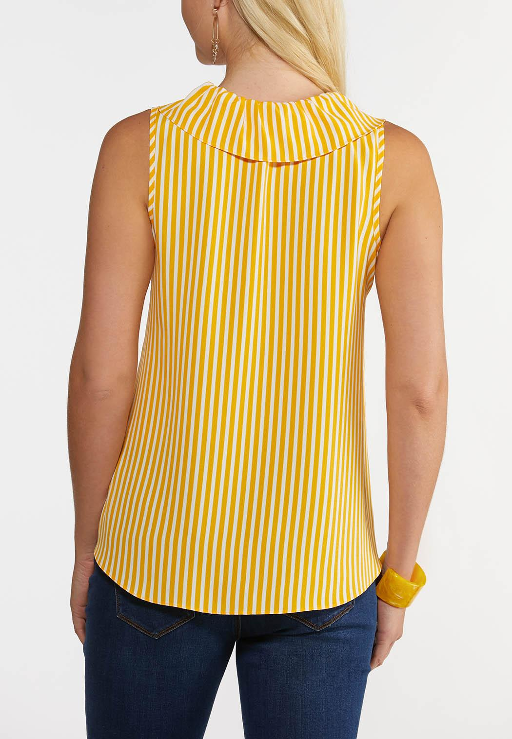 Plus Size Golden Stripe Woven Tank (Item #44265980)