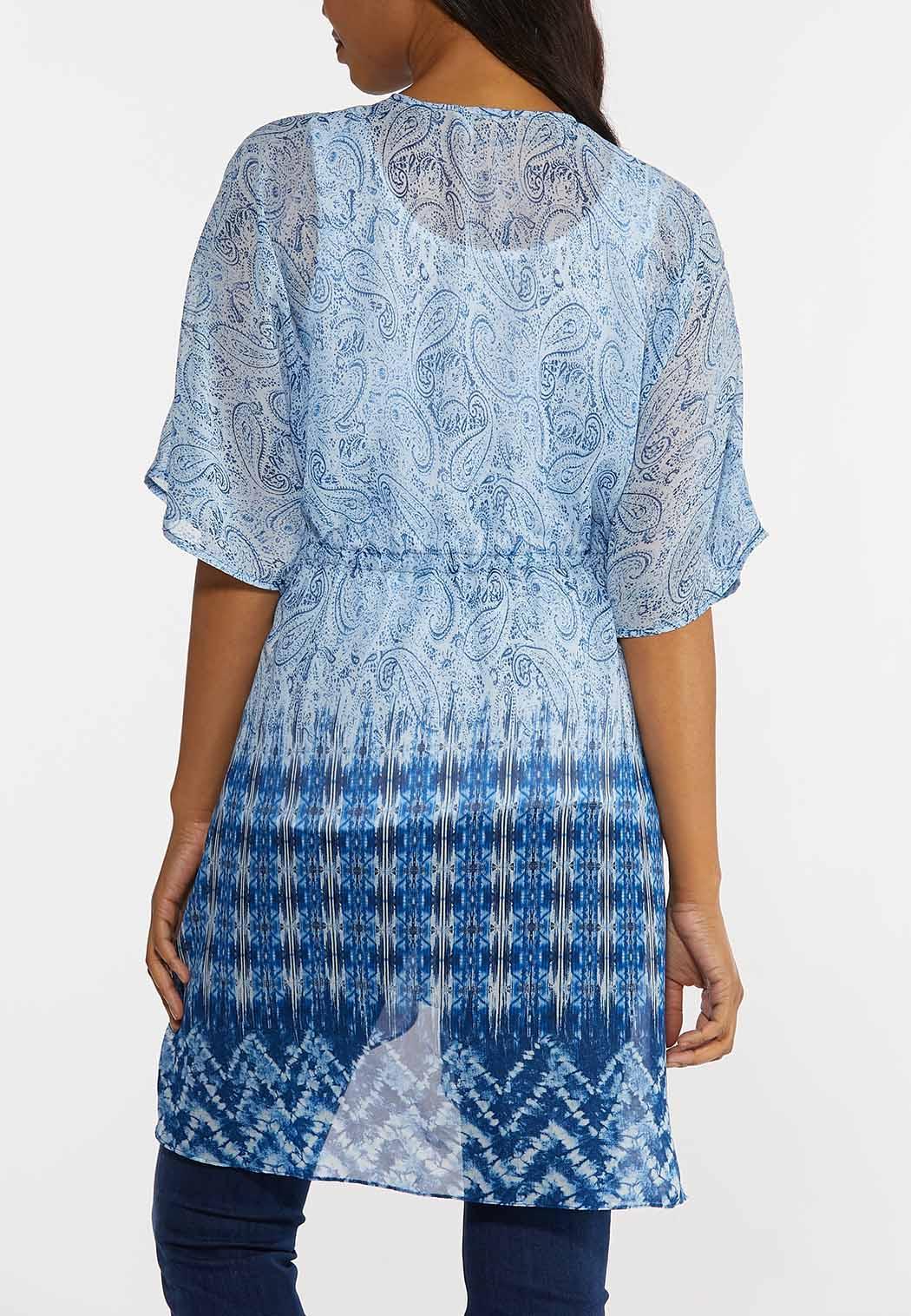 Plus Size Blue Paisley Kimono (Item #44266167)